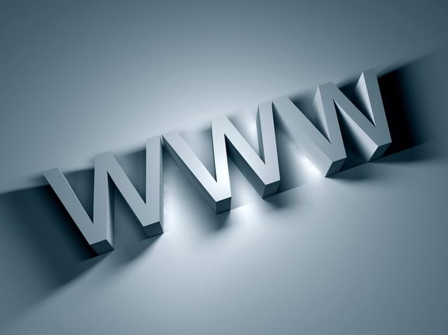 """""""WWW"""" v 3D provedení na šedém podkladu"""
